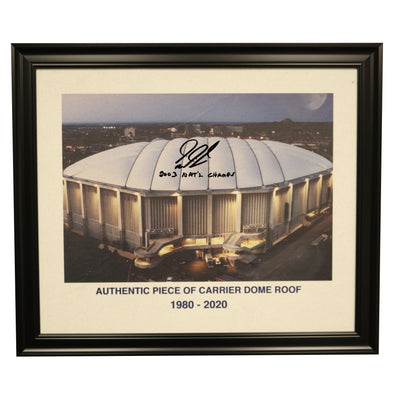 "Gerry McNamara Autographed ""03 National Champs"" 11x14 Framed Piece of Carrier Dome Roof with Image of Dome"