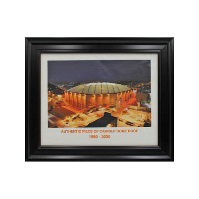 Framed Nighttime Image of Carrier Dome Printed on Piece of Carrier Dome Roof