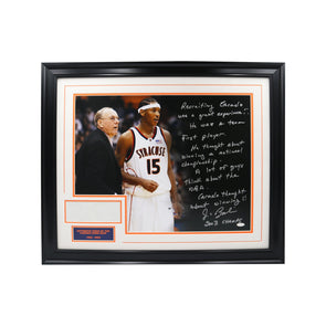 Carmelo Anthony and Jim Boeheim Autographed Story Photo with a Piece of the Carrier Dome Roof