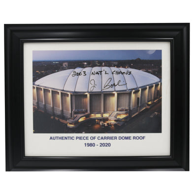"Jim Boeheim Autographed and Inscribed ""03 Natl Champs"" Authentic 11X14 Framed Piece Of Carrier Dome Roof With Printed Carrier Dome Image"