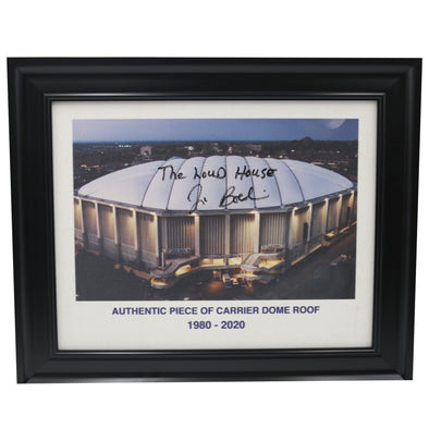 "Jim Boeheim Autographed ""The Loud House"" Framed Piece Of Carrier Dome Roof With Printed Carrier Dome Image"
