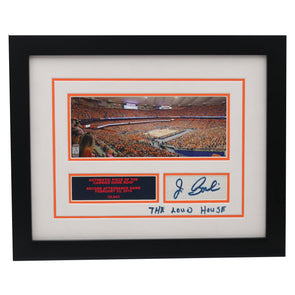 "Jim Boeheim Autographed and Inscribed ""The Loud House"" Syracuse University Framed On-Campus Basketball ""Record Attendance"" Game Photo Collage with Piece of Authentic Carrier Dome Roof"