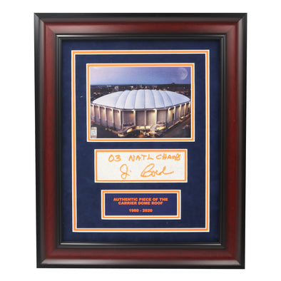 "Jim Boeheim Autographed ""03 National Champs"" Framed Dome Exterior Photo with Piece of Authentic Carrier Dome Roof"