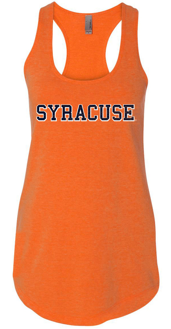 Next Level Women's Neon Heather Orange French Terry Racerback Tank