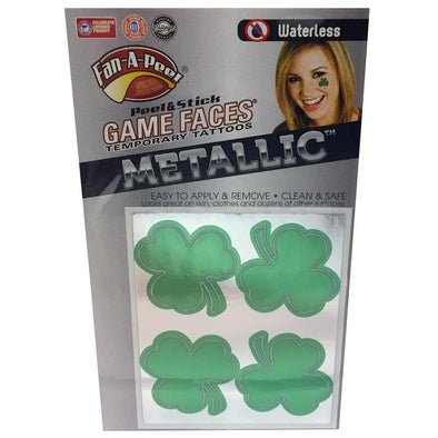 Game Faces Temporary Metallic Clover Tattoos