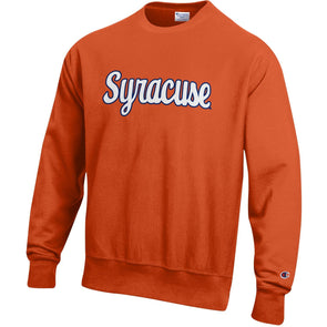 Champion Heavyweight Reverse Weave Script Syracuse Tackle Twill Crew Neck Sweatshirt