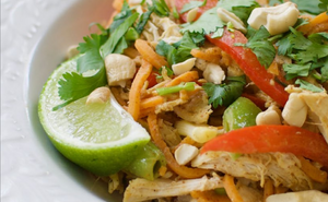 High Protein Pad Thai Recipe with Sweet Potato Noodles