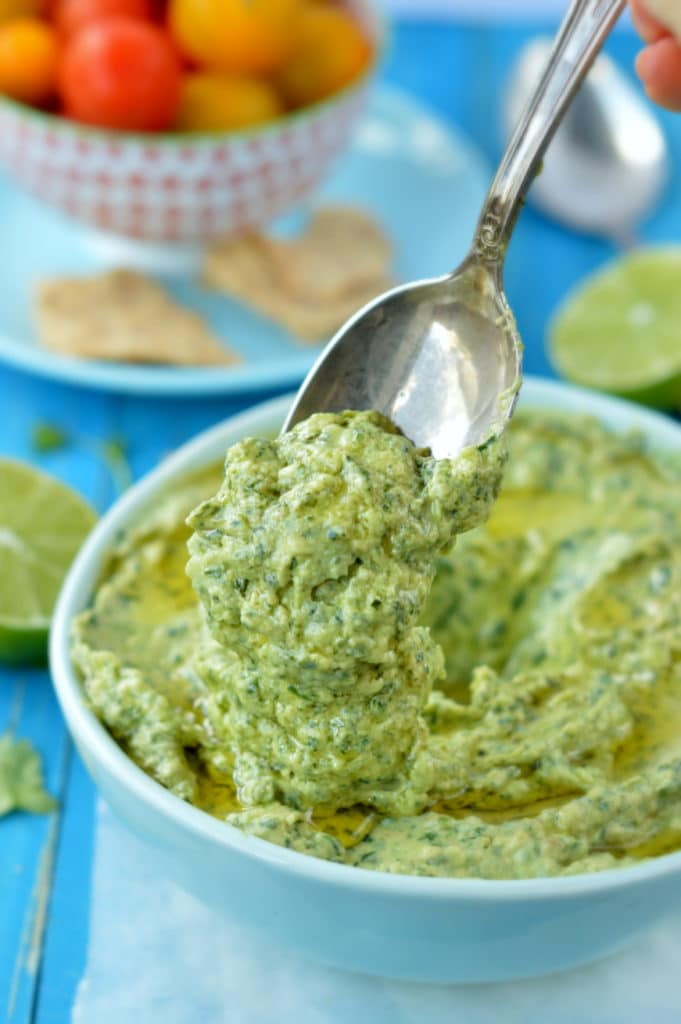 Vegan Spinach Avocado Dip (serve with low carb crackers/chips)