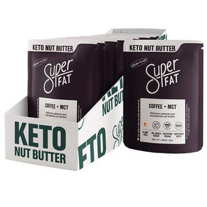 SuperFat Nut Butter Keto Snacks - Macadamia & Almond Nut Butter Fat Bomb Paleo Snack For Energy, Metabolism & Brain Function, Vegan, Gluten Free, Low Net Carb Box of 8 x 1.0 oz (Coffee + MCT)