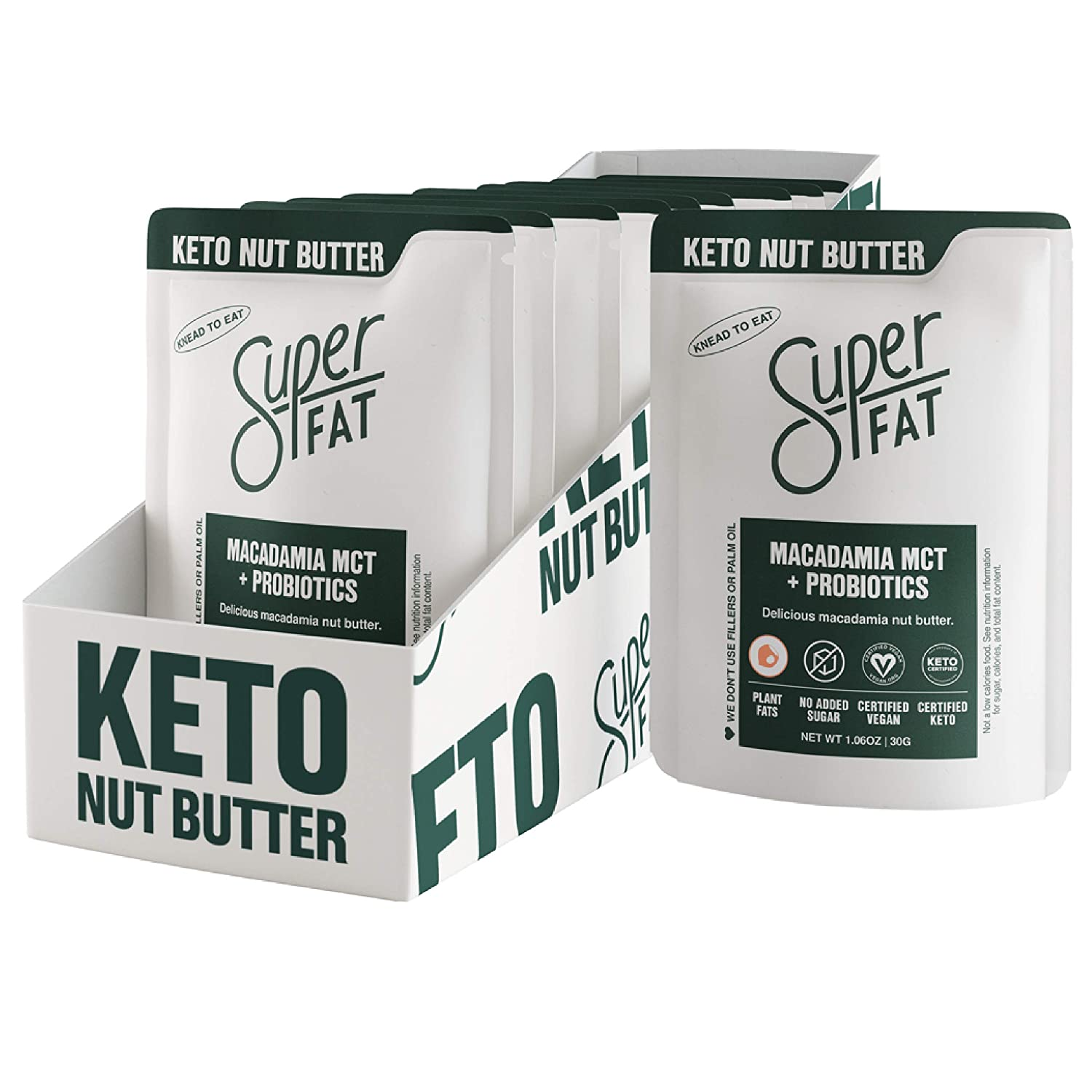 SuperFat Nut Butter Keto Snacks - Macadamia & Almond Nut Butter Fat Bomb Paleo Snack Improves Energy, Metabolism & Brain Function, Vegan, Gluten Free 8 x 1.0 oz (Macadamia MCT + Probiotics)