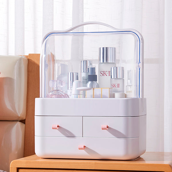 Dust Proof Makeup Organizer Display Boxes With Drawers For Vanity