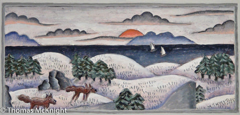 Snowy Landscape with Two Foxes