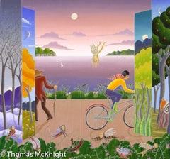 Bicyclist with Four Seasons