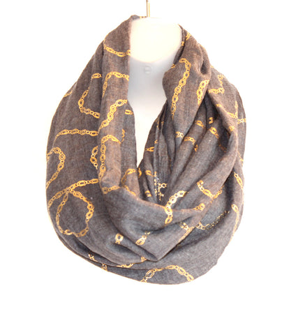 Thin Infiniti Scarf - Gold Links (more colours available)