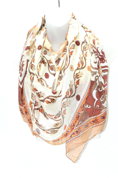 Turkish Silk Shawl with Bursa Stamp - Dark Beige