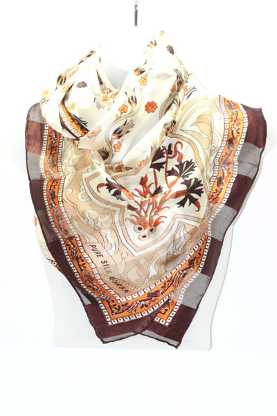 Turkish Silk Shawl with Bursa Stamp - Brown