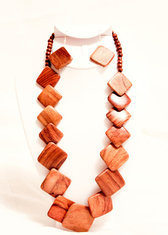 Square Wooden Necklace Set
