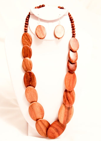 Oval Wooden Necklace Set