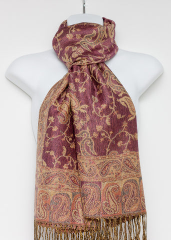 Pashmina Styled Shawl with a Vine and Paisley Design