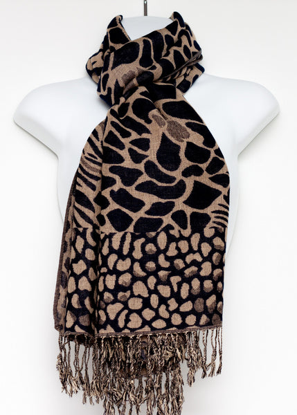 Pashmina Styled Shawl with an Animal Print Design