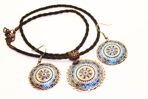 Turkish Copper Necklace and Earrings Set