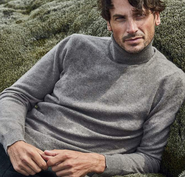 Dolomiti Grey Pure Cashmere Roll Neck