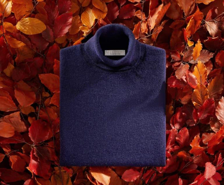 Navy Blue Pure Cashmere Roll Neck