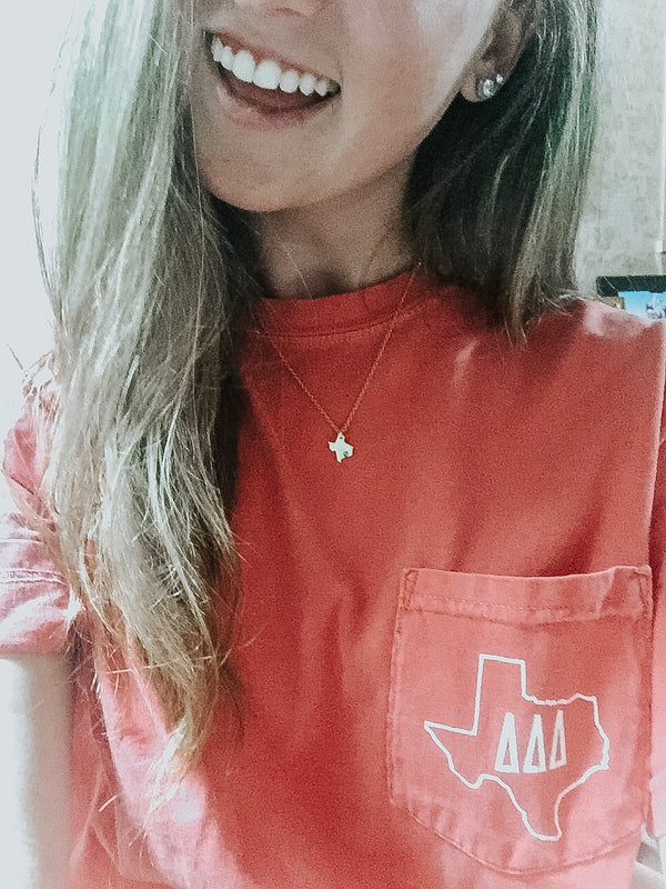 How our Campus Ambassador wears our Texas Strong Necklace