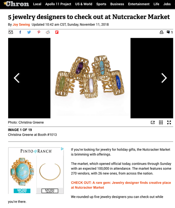 Houston Chronicle / 5 Jewelry designers to check out at Nutcracker Market / November 2018