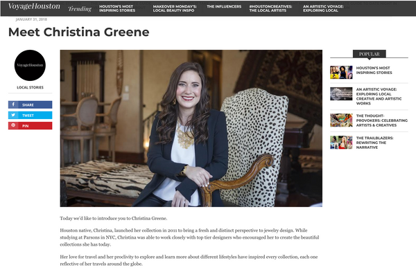 Voyage Houston / Meet Christina Greene / January 2018