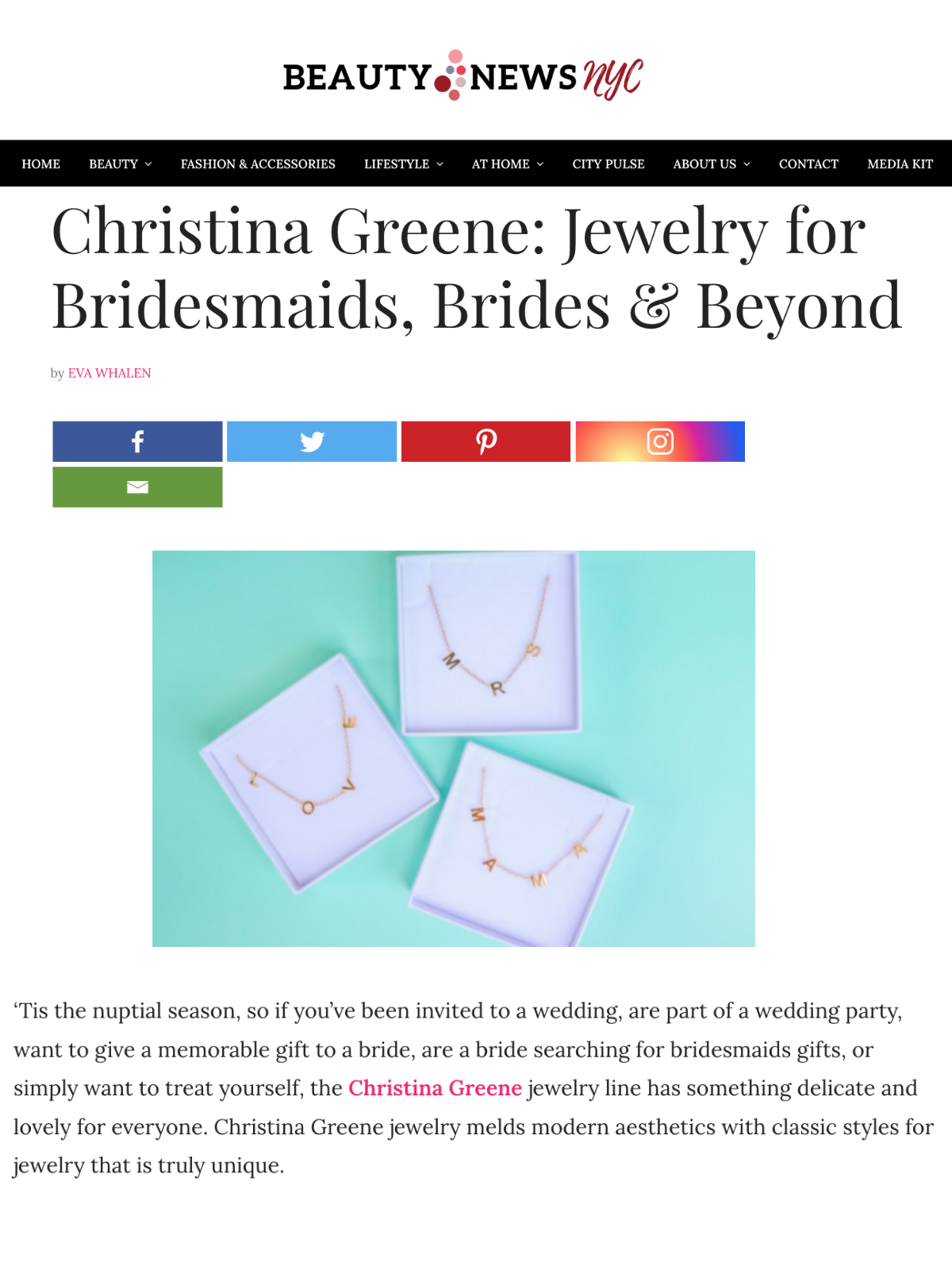 Screenshot of a blog post by Beauty News NYC about Christina Greene Jewelry's new MRS Necklace as a perfect gift for Brides and Brides-To-Be.