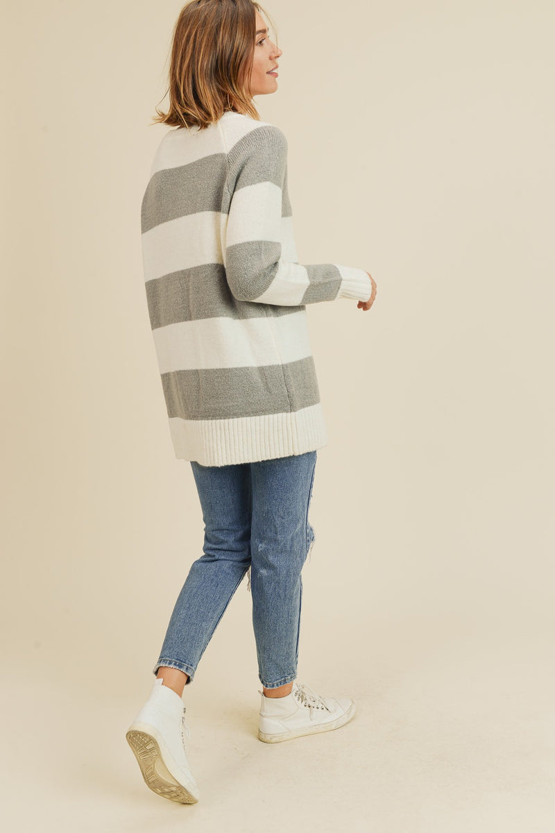 Strip Sweater - Grey/Ivory - Christina Greene LLC