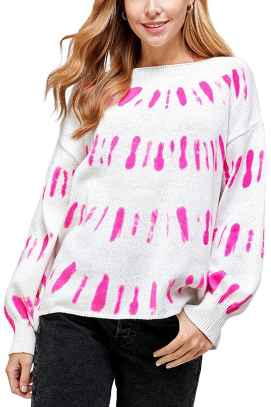 Tie Dye Stripe Puff Sleeve Sweater
