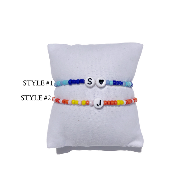 Custom Initial Letter Multi Color Beaded Bracelet