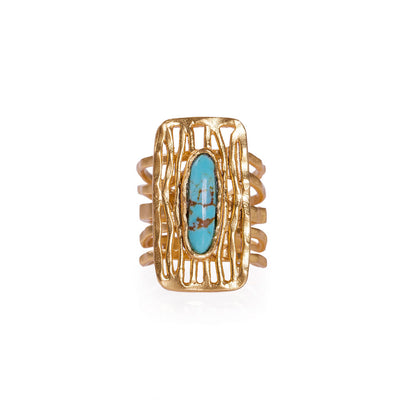 Deco Shield Ring - Turquoise