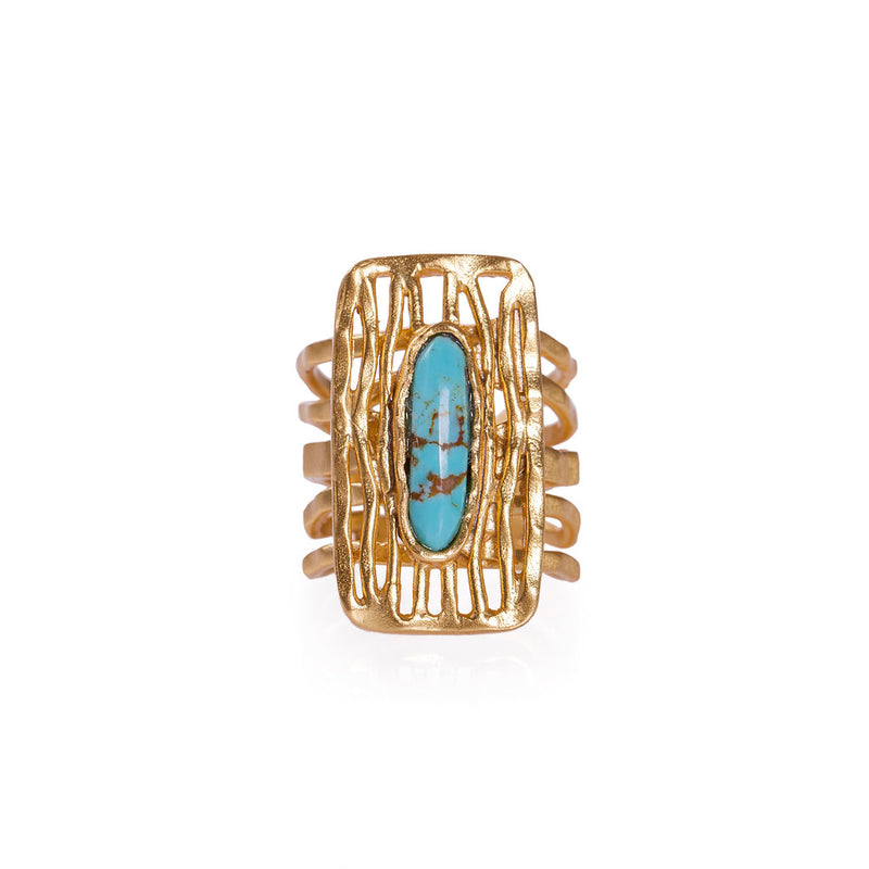 Deco Shield Ring - Turquoise - Christina Greene LLC