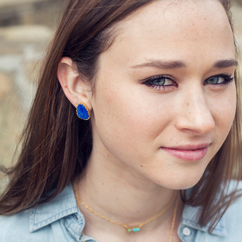 Stud Earrings - Lapis