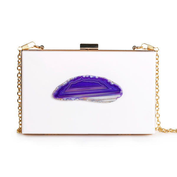 Agate Evening Clutch - White/Purple