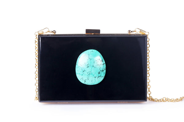Agate Evening Clutch - Black/Turquoise