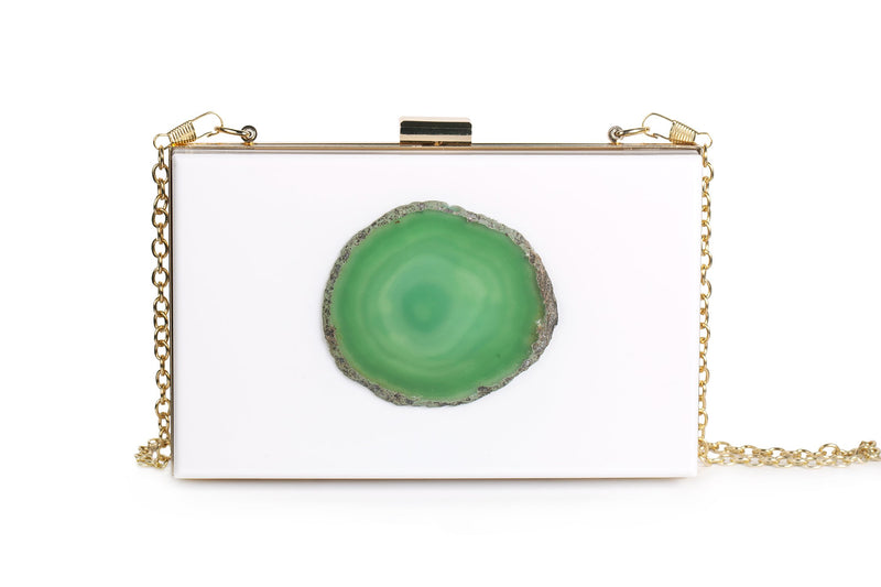 Agate Evening Clutch - White/Green