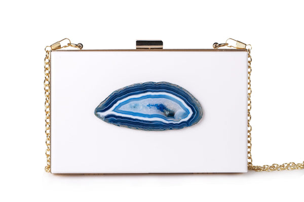 Agate Evening Clutch - White/Teal