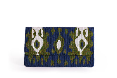 Beaded Ikat Clutch
