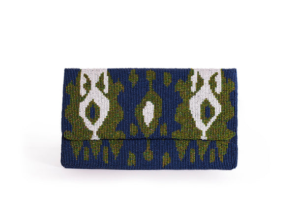Beaded Ikat Clutch - Christina Greene LLC