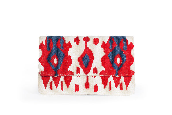 Red and Blue Beaded Clutch - Christina Greene LLC