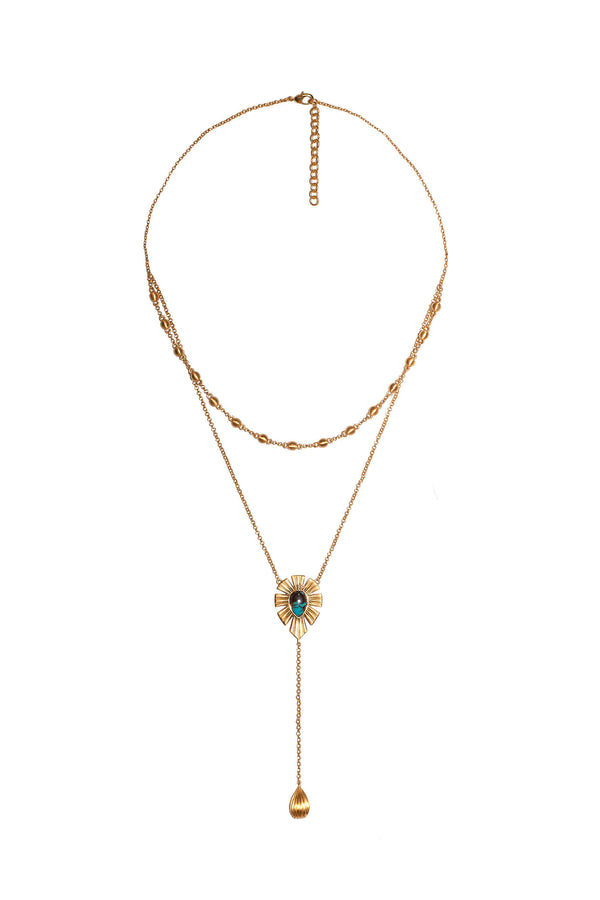 Unique Mystique Layered Lariat Necklace - Turquoise - Christina Greene LLC