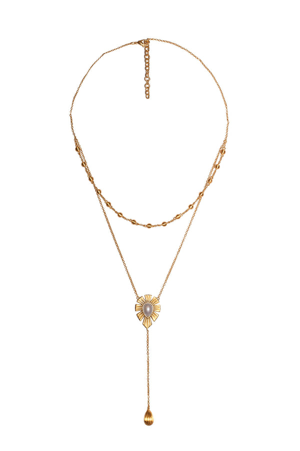 Unique Mystique Layered Lariat Necklace - Pearl - Christina Greene LLC