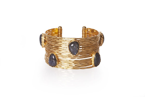 Wire Stackable Cuff - Labradorite - Christina Greene LLC