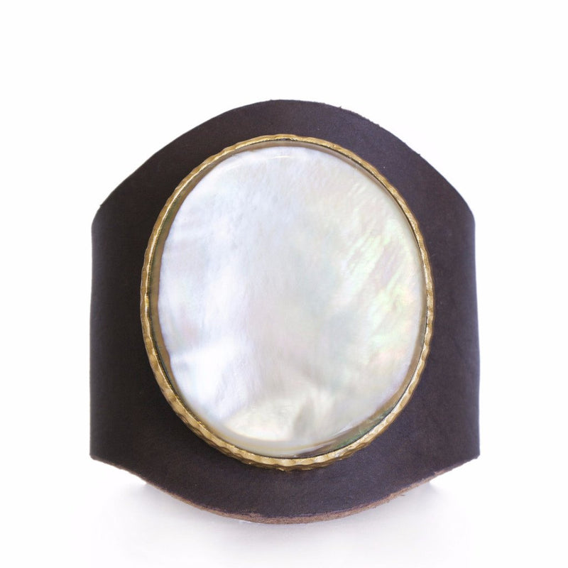 Leather Cuff - Pearl - Christina Greene LLC