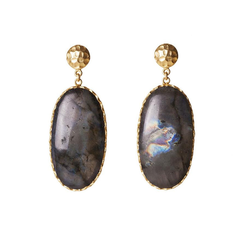Large Drop Earrings - Labradorite - Christina Greene LLC