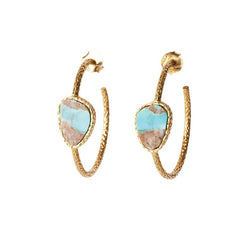 Hoop Earrings - Turquoise - Christina Greene LLC